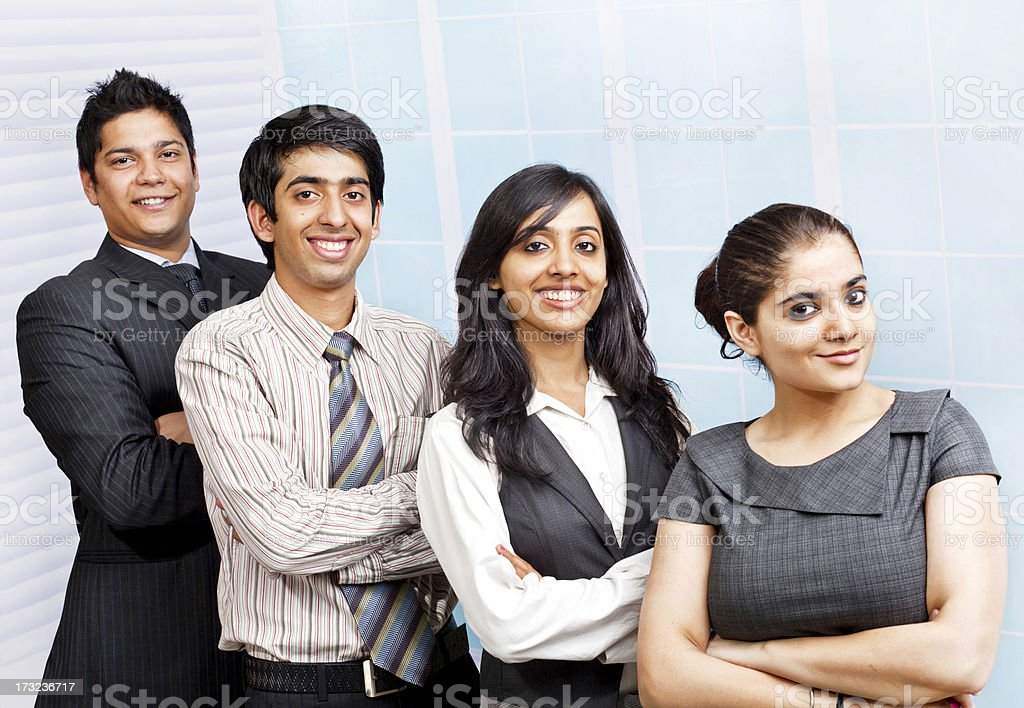 Four Confident young cheerful Indian Business Team Person People royalty-free stock photo