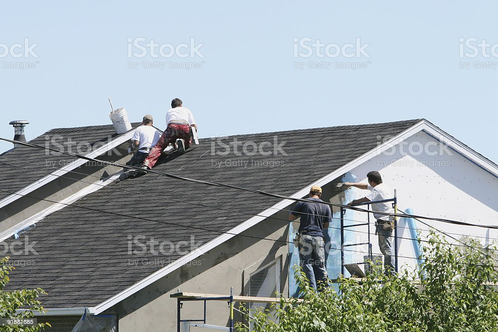 Four construction workers royalty-free stock photo