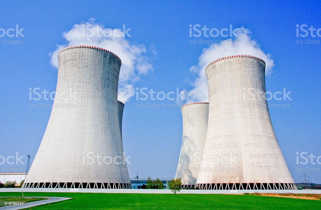 Four cooling towers of the nuclear power station in Dukovany. stock photo
