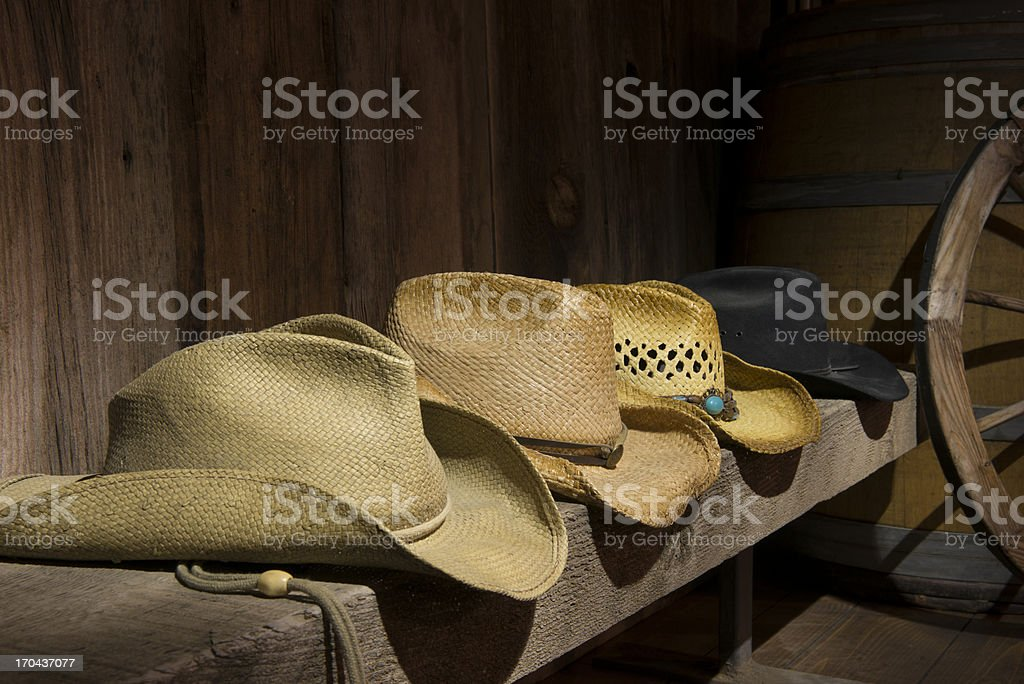 Four cowboy hats royalty-free stock photo