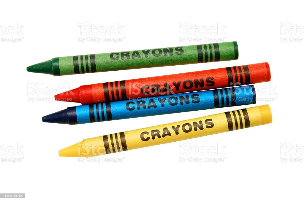 Four crayons in red, blue, yellow, and green stock photo