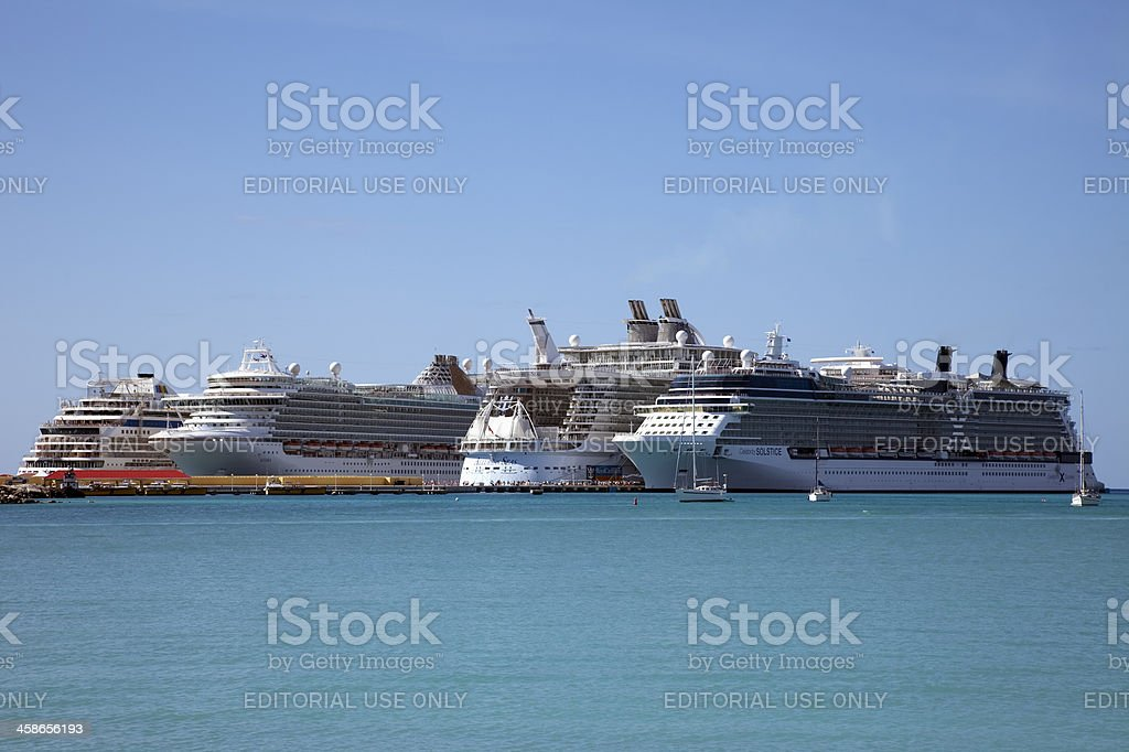 Four cruise ships in port stock photo