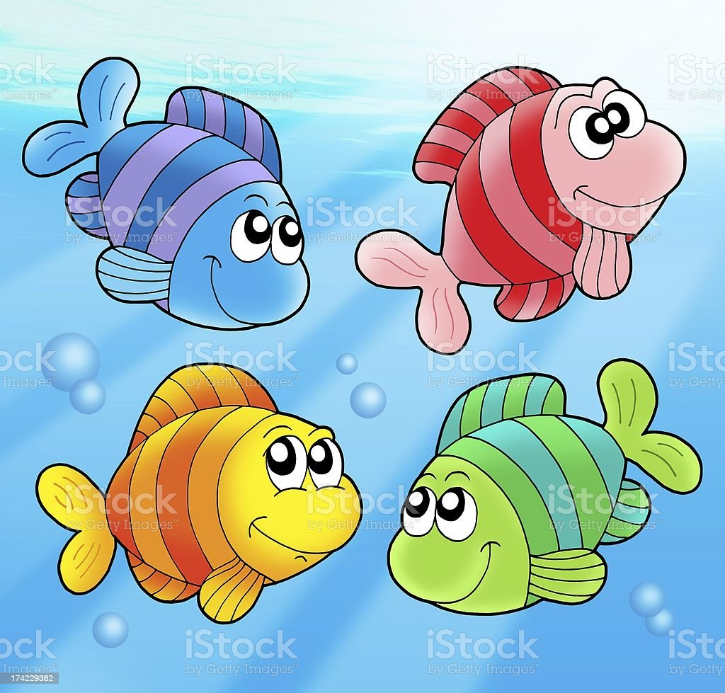 Four cute fishes royalty-free stock photo