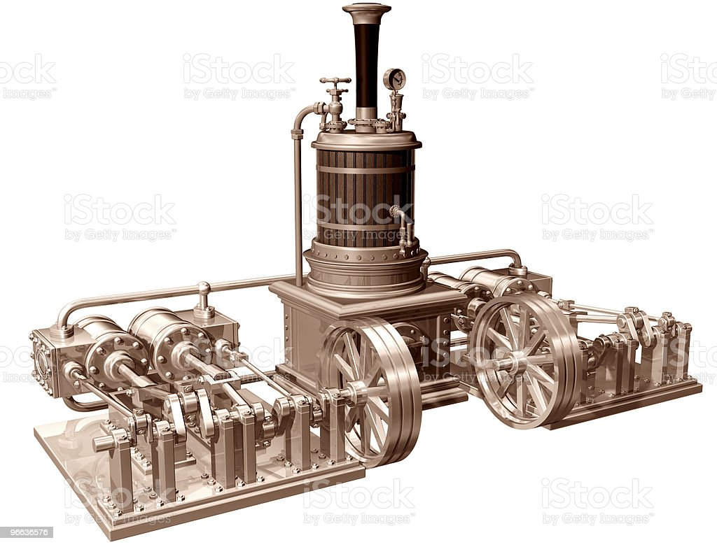 Four cylinder steam engine and boiler stock photo