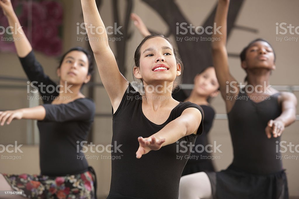Four Dancers Rehearsing stock photo