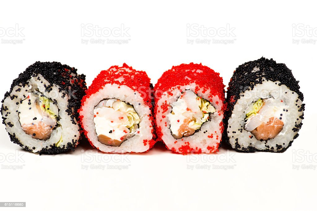 four delicious sushi rolls isolated on white stock photo