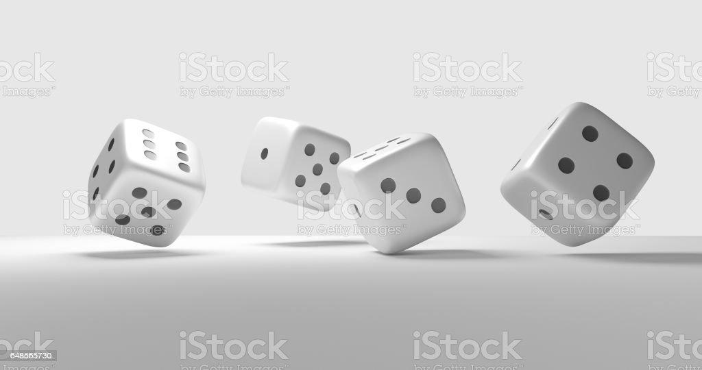 four dices cubes 3d render stock photo