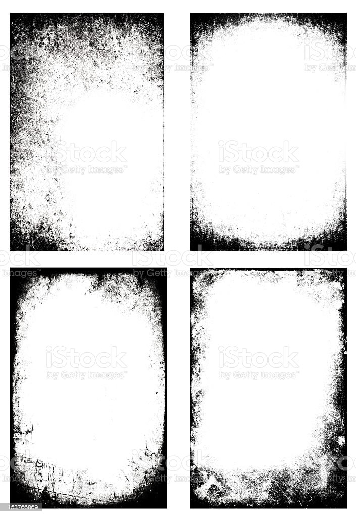 Four different black and white distressed frames stock photo