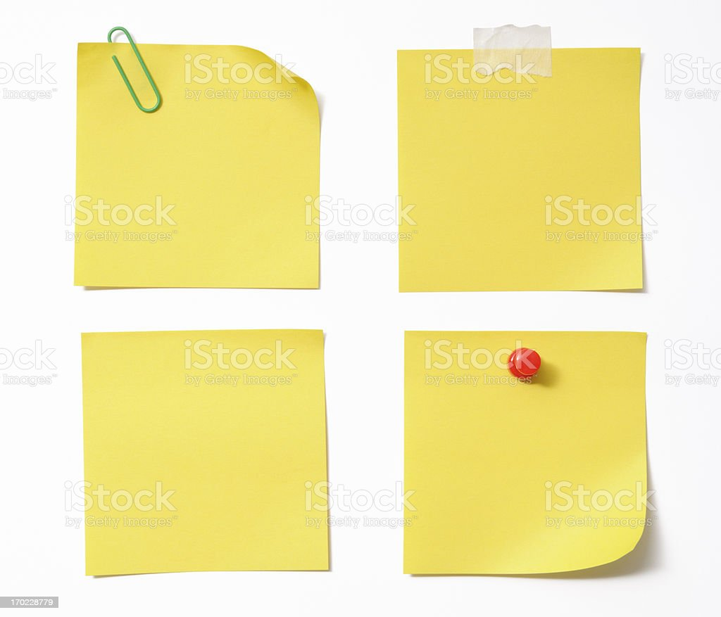 Four different blank yellow sticky note on white background stock photo