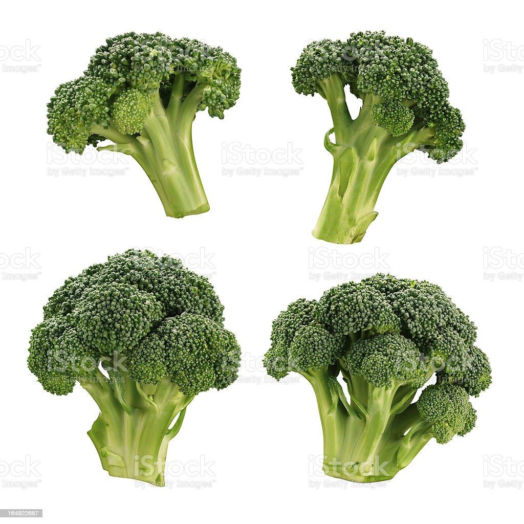 Four different broccoli florets stock photo