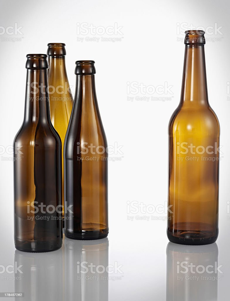 four different brown bottles royalty-free stock photo