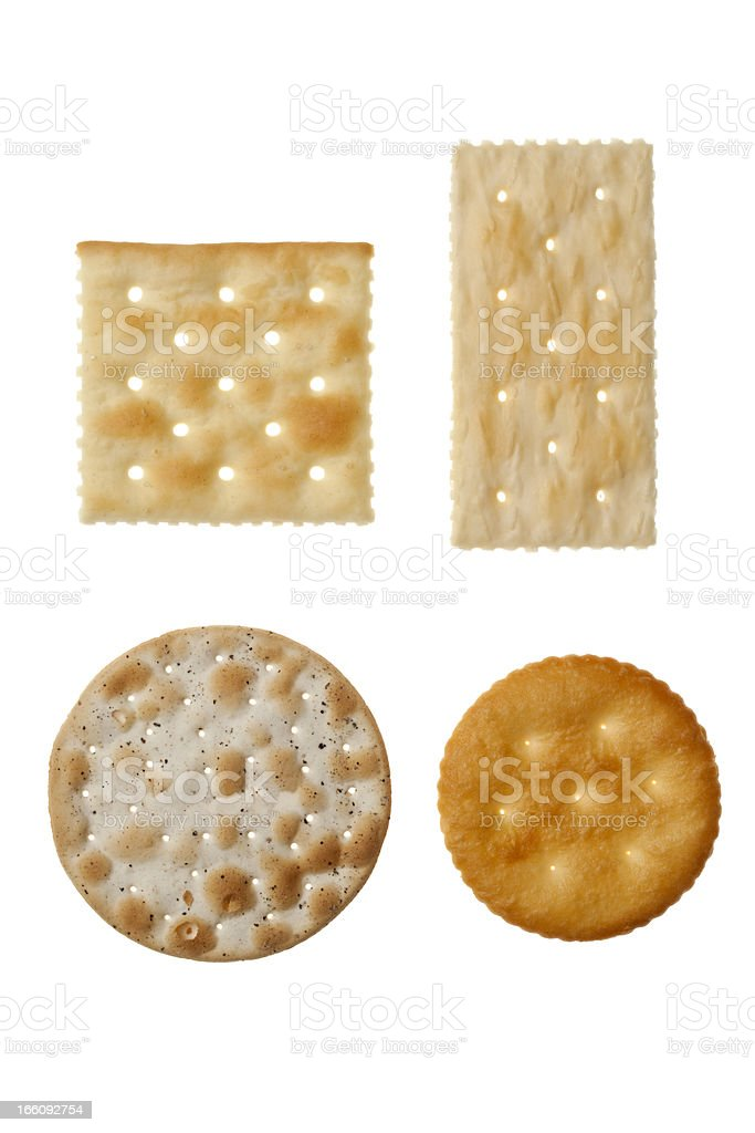 Four different crackers in white background stock photo