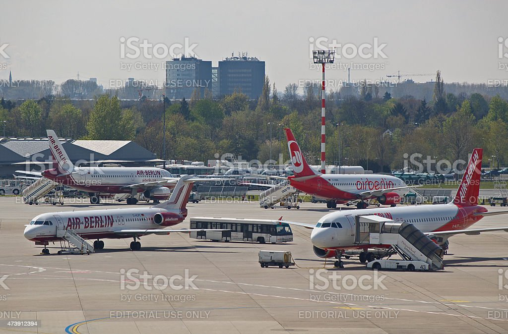 Four different liveries of Air Berlin stock photo