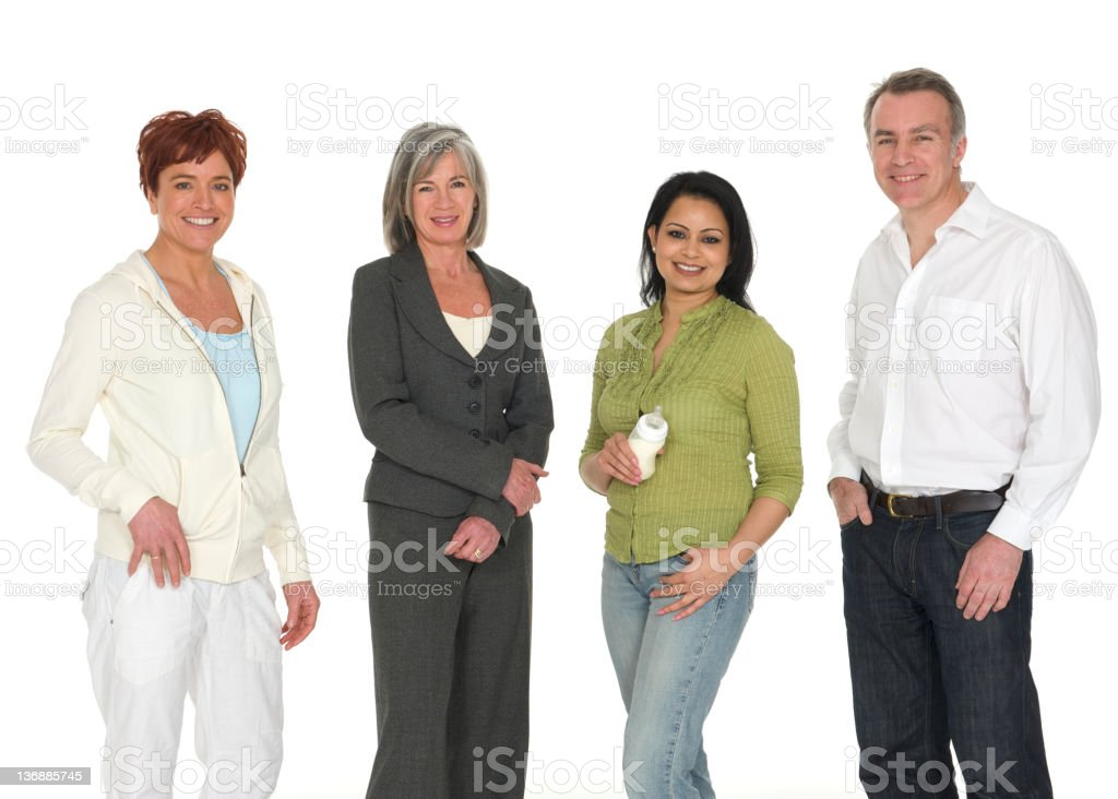 Four different people on white royalty-free stock photo