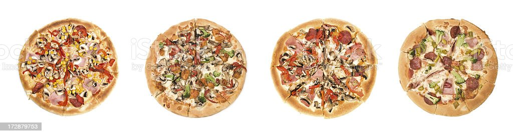 Four different pizzas royalty-free stock photo