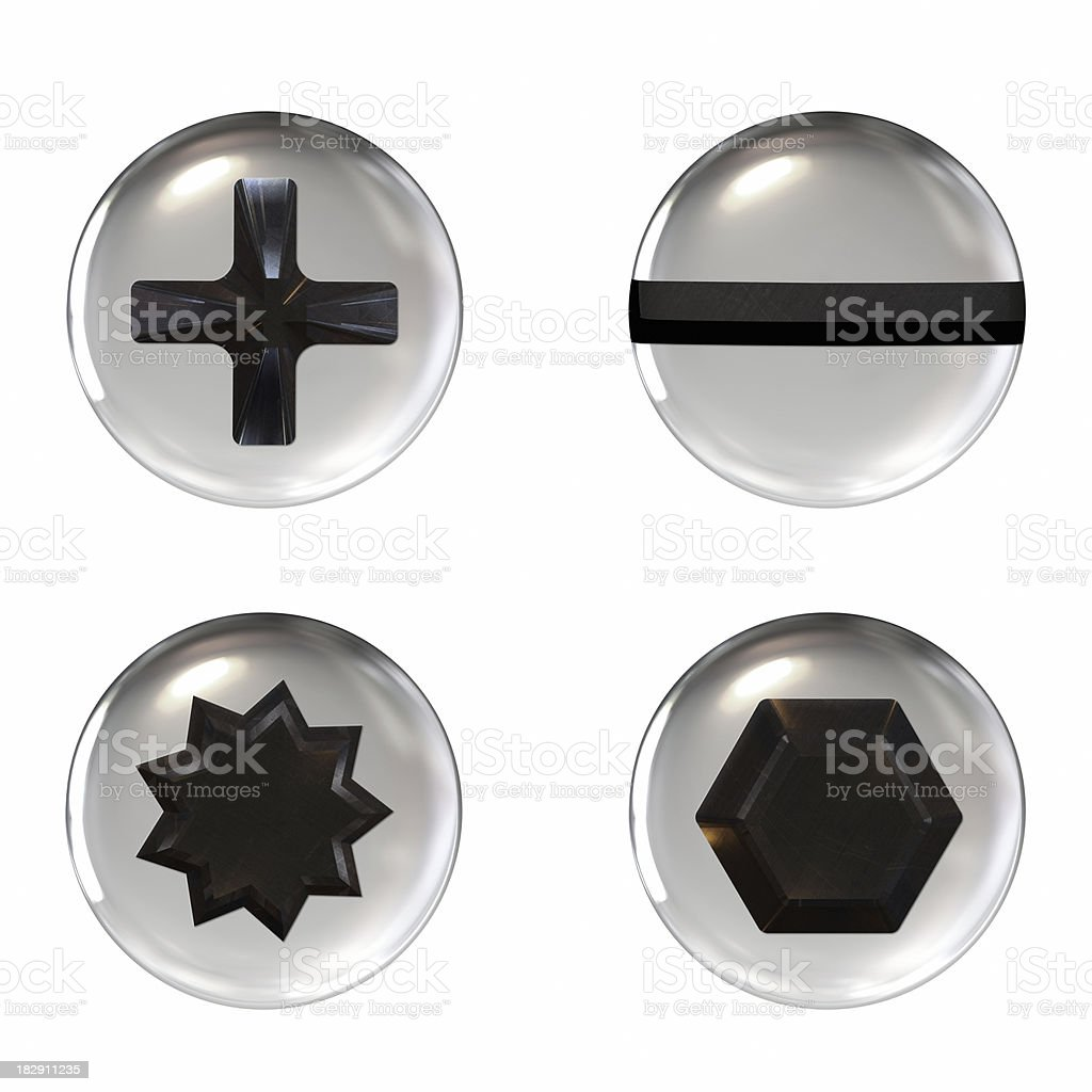 Four different shaped screw icons on a white background stock photo