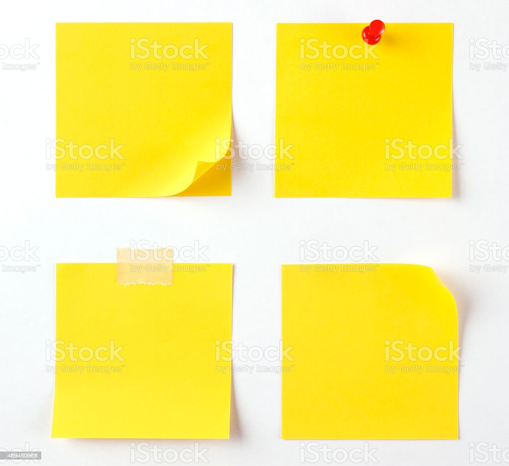 Four Different Sticky Notes on White Background stock photo