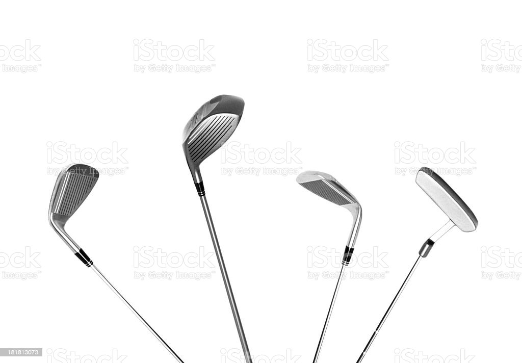 four different type of golf clubs, isolated stock photo