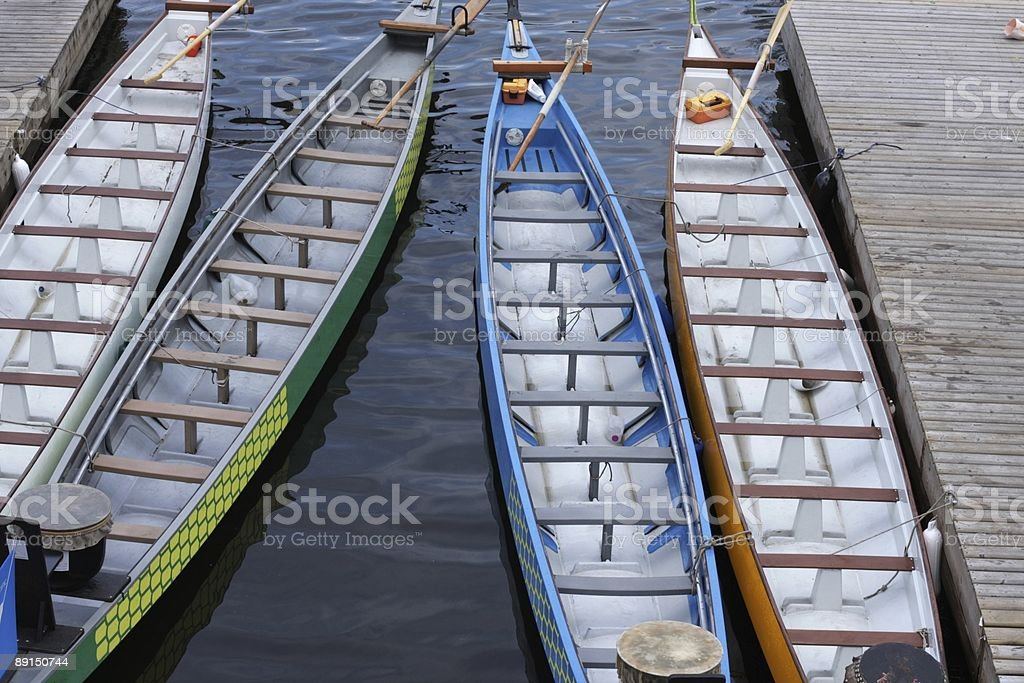 Four Dragon Boats in Vancouver's False Creek stock photo
