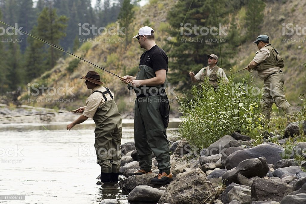 four dry fly fishermen royalty-free stock photo