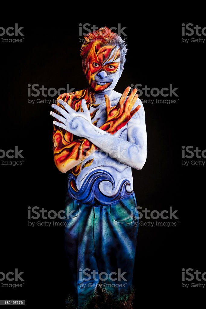 Four Elements Body Paint Series royalty-free stock photo