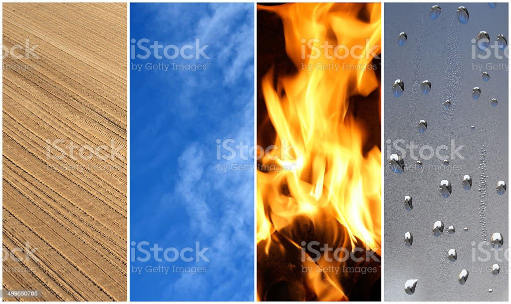 Four elements. Earth, air, fire, water. stock photo