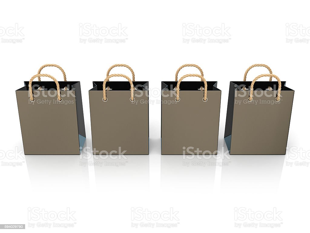 Four, empty, black, blank shopping bags. 3D stock photo
