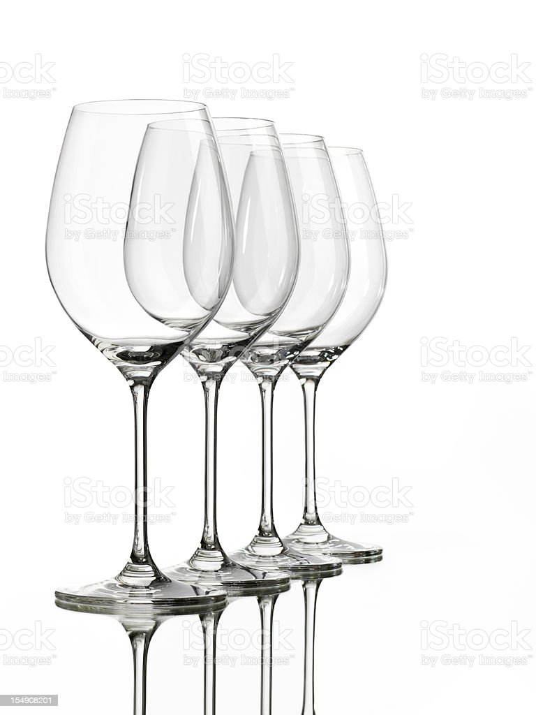 Four Empty Wine Glasses on white royalty-free stock photo