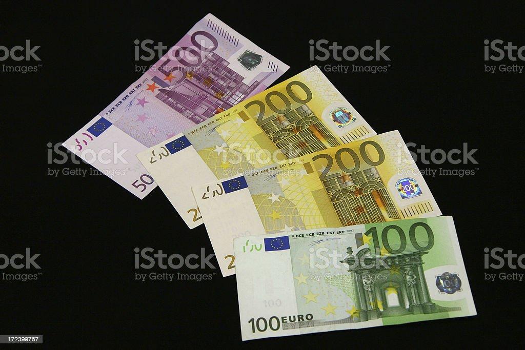 four euro banknotes royalty-free stock photo