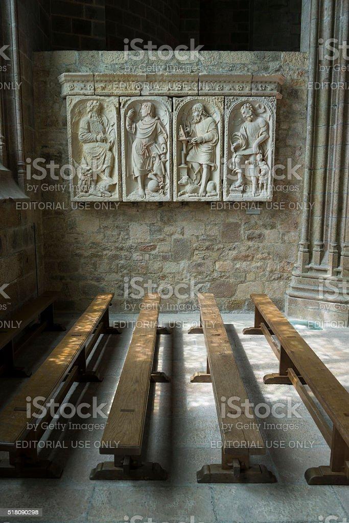 Four evangelists sculpture at Mont Saint-Michel, Normandy, France stock photo