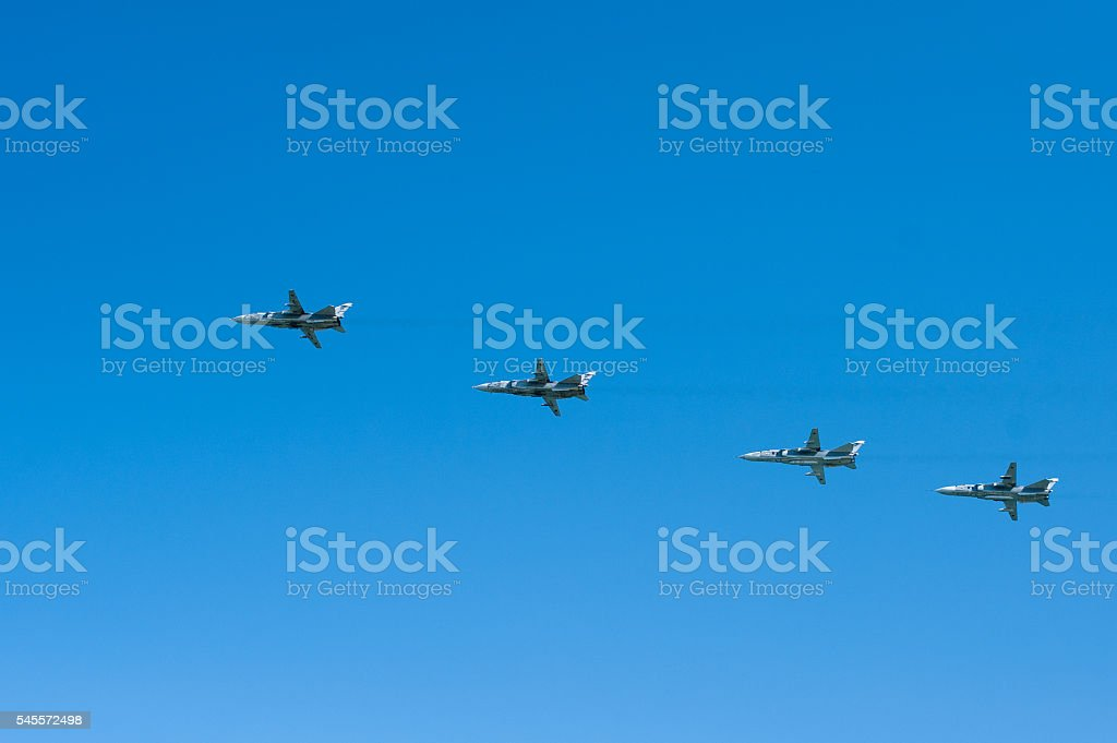 four fighters in the sky stock photo