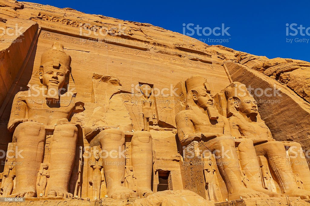 four figures Abu Simbel stock photo