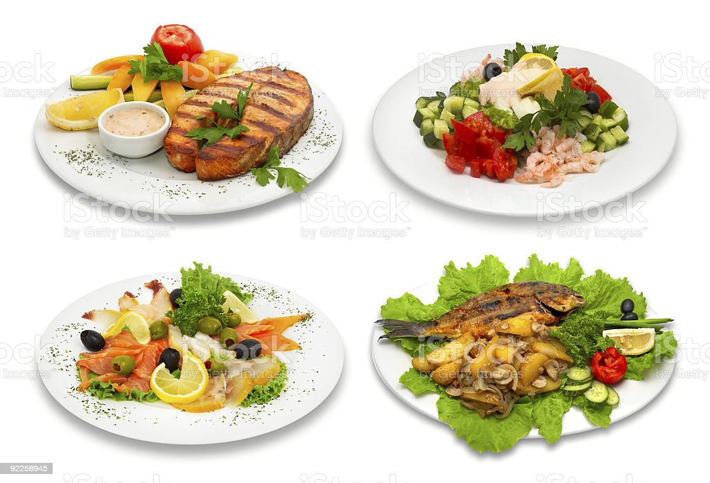 Four fish dishes royalty-free stock photo