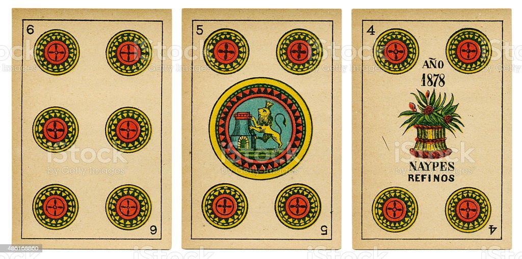 Four five six oros Spanish playing card baraja 19th century stock photo