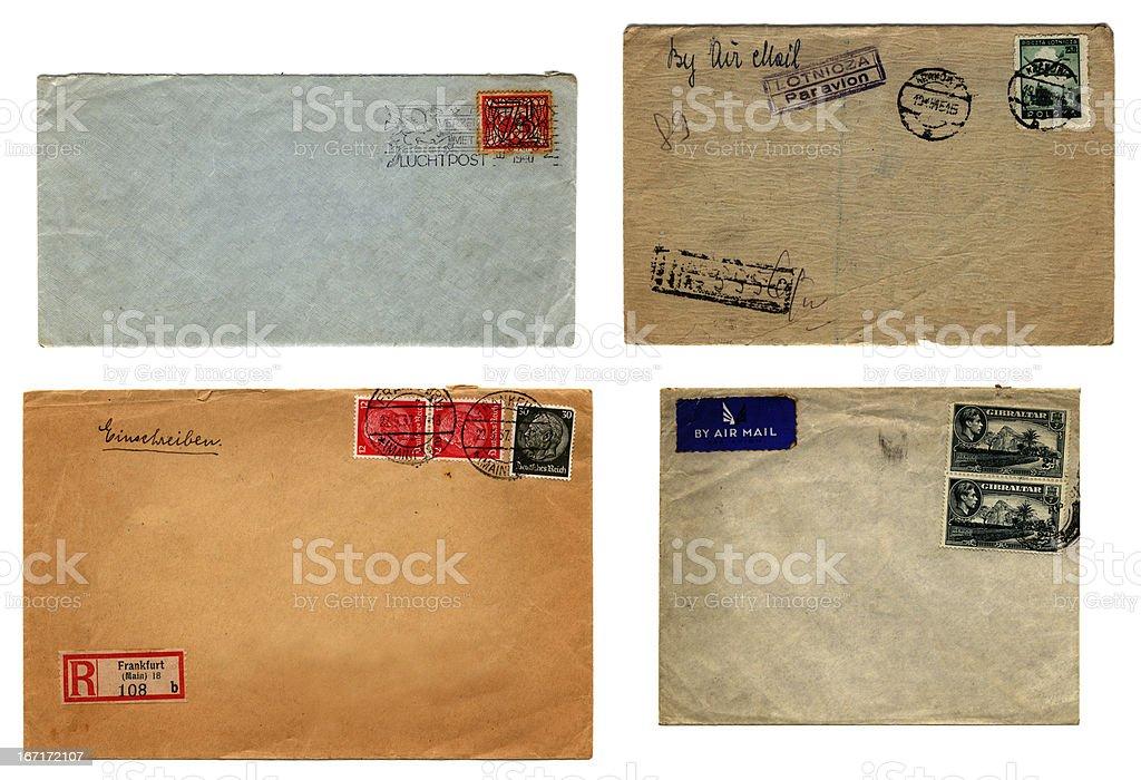 Four franked European envelopes royalty-free stock photo
