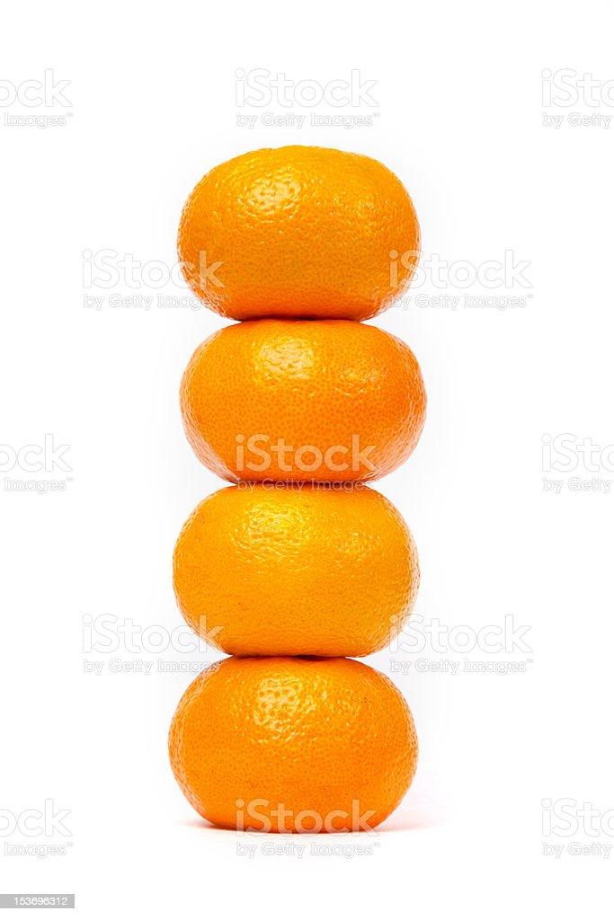 Four fresh mandarins royalty-free stock photo