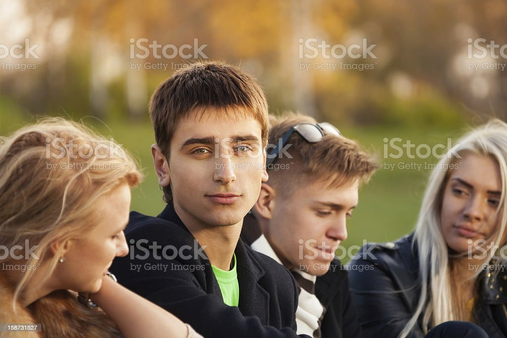 four friends after classes royalty-free stock photo