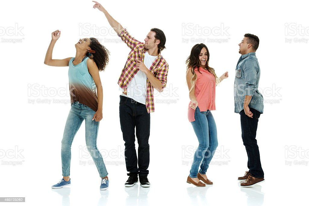 Four friends dancing stock photo