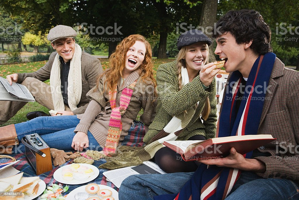 Four friends having a picnic stock photo