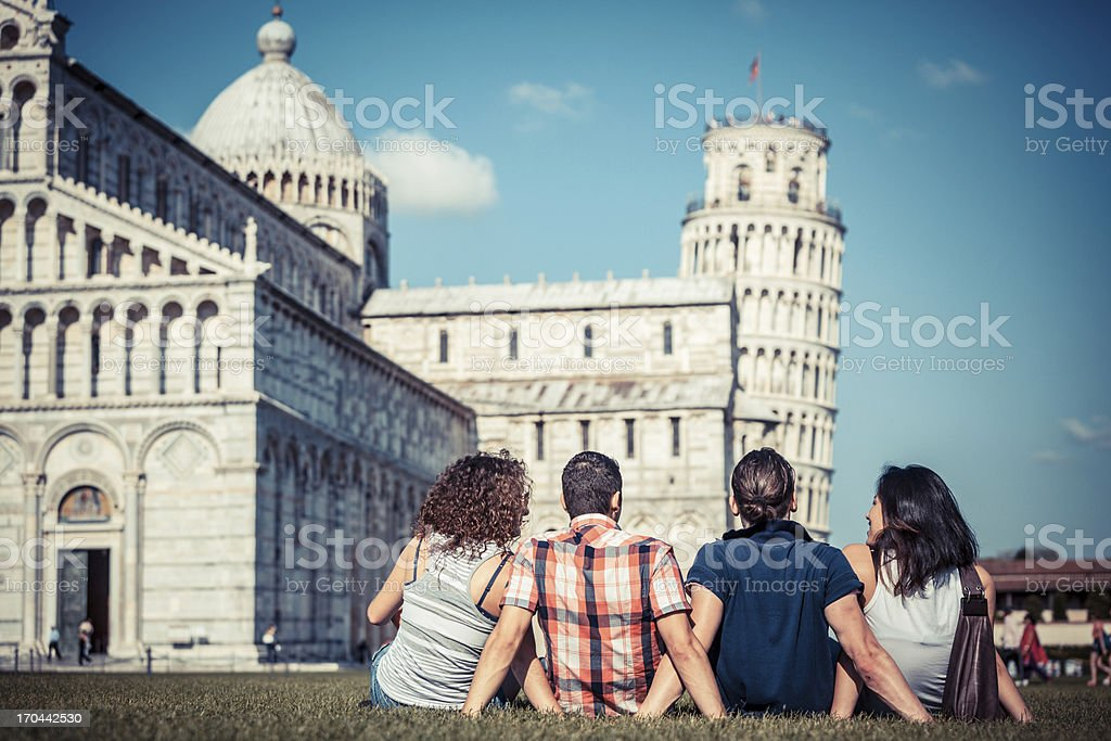 Four Friends on Vacation Visiting Pisa stock photo