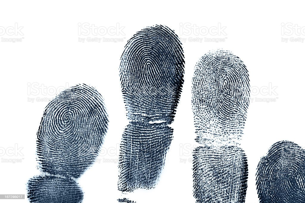 Four full length finger prints on white paper stock photo