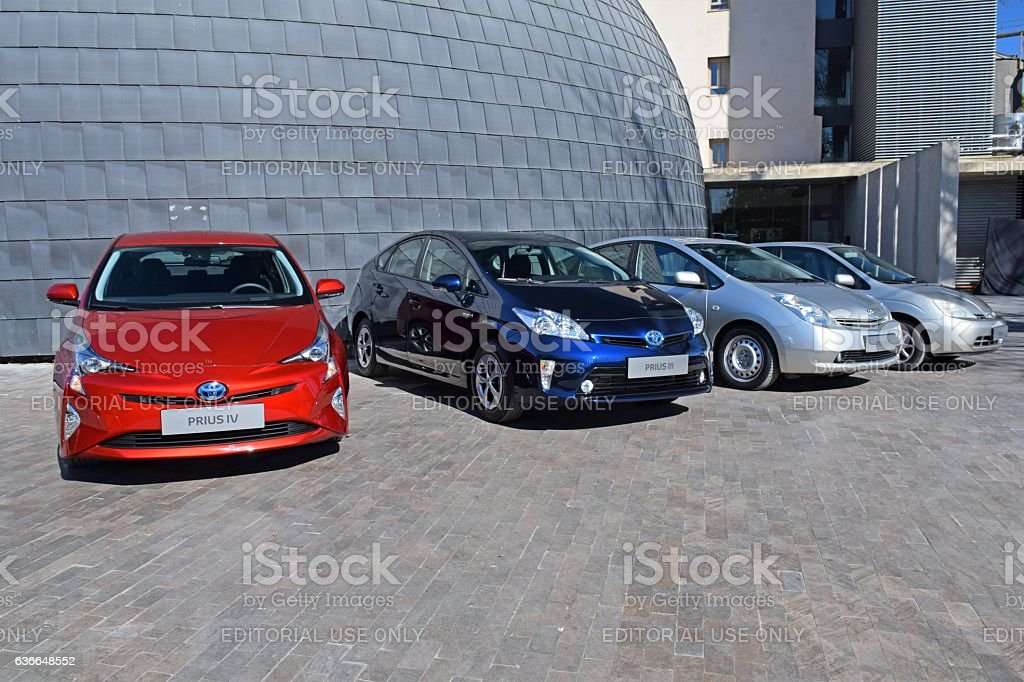 Four generations of Toyota Prius vehicles stock photo