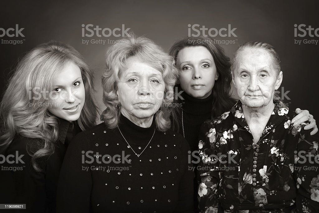 Four generations of women in a family royalty-free stock photo