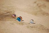 Four glass spheres