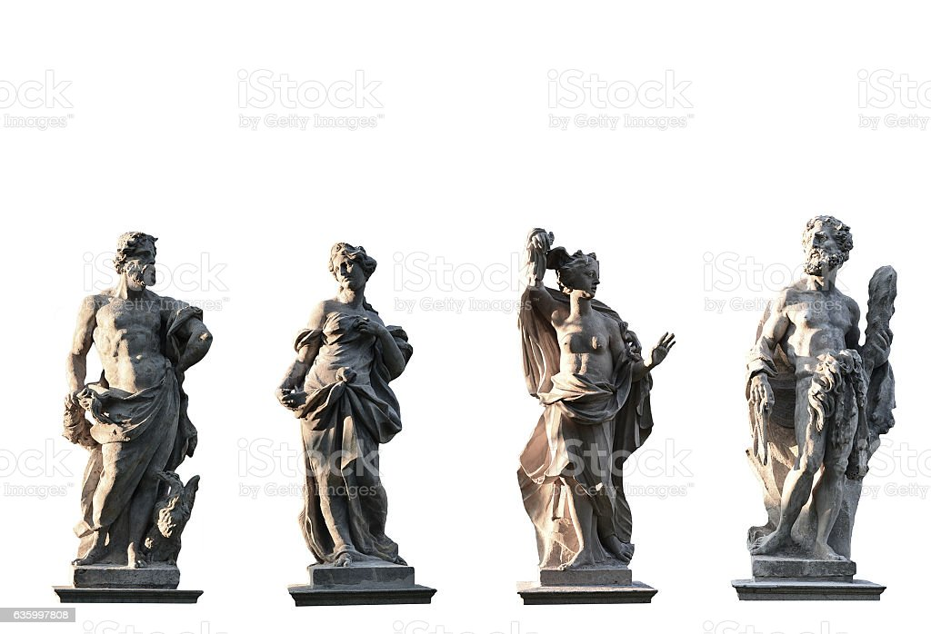 Four Gods on white background stock photo
