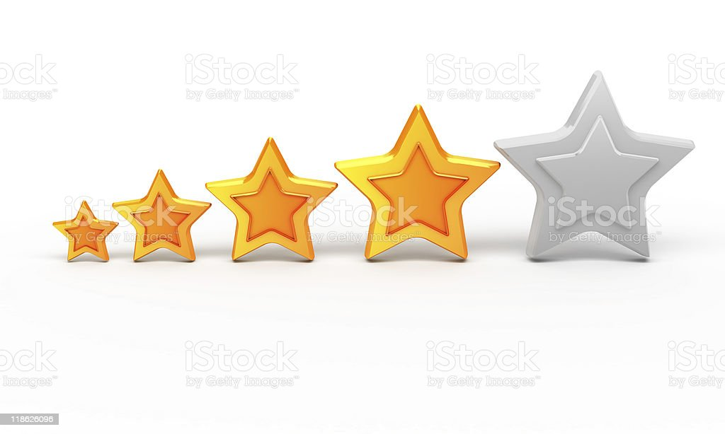 Four gold stars for ranking stock photo