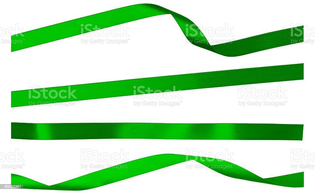 Four Green Satin Isolated Ribbon Strips on White stock photo