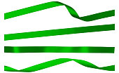 Four Green Satin Isolated Ribbon Strips on White