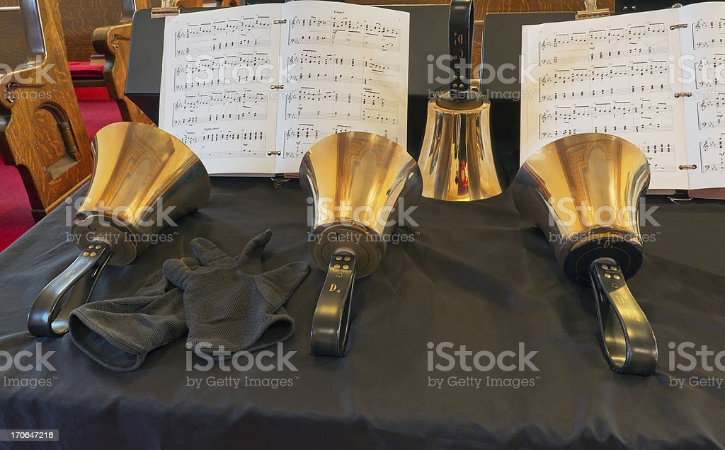 Four Handbells and Music stock photo
