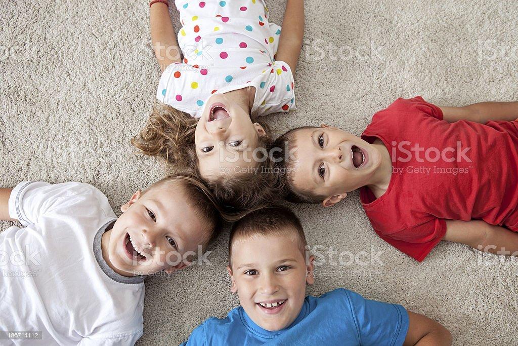 Four happy children royalty-free stock photo